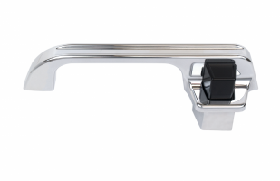 73-87 Billet Door Handles, Polished Finish, Groove, Black Buttons